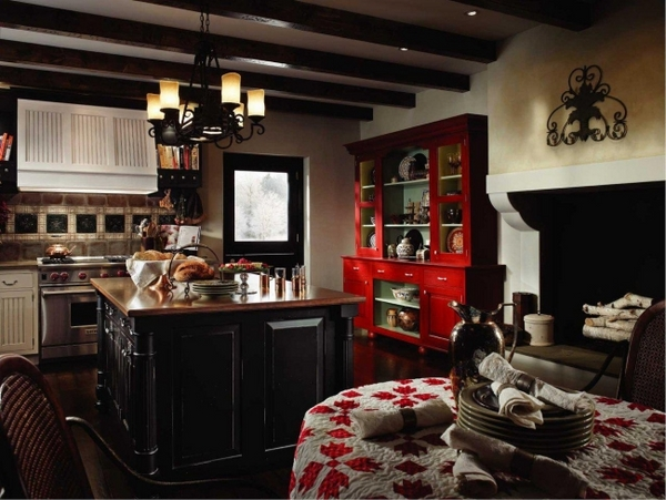 kitchen design ideas French country style black white red bufet