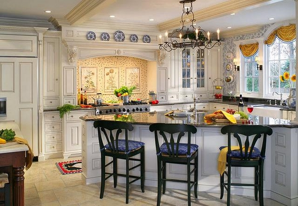 French country house kitchen design white blue yellow accents