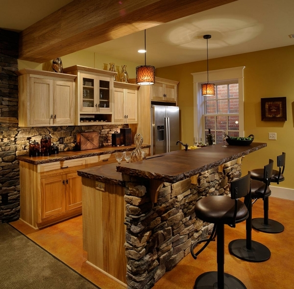 interior design ideas wooden cabinets natural stone counter