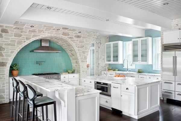 country house design ideas Mediterranean turquoise backsplash