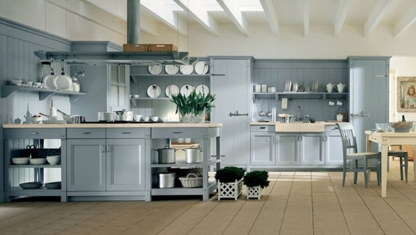 country house light blue cabinets