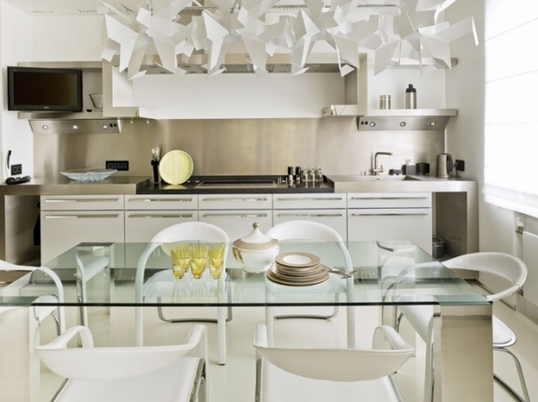 white modern kitchen design stainless steel backsplash