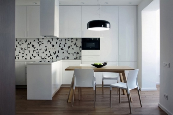 white kitchen modern design wooden dining room table black elements