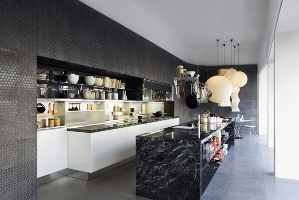 black kitchen wall marble island