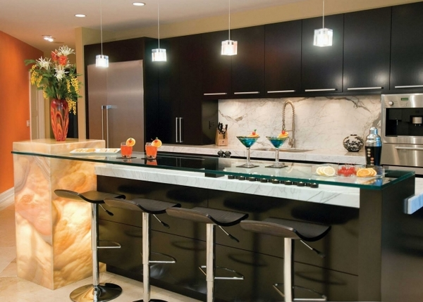 ideas modern black kitchen marble accents