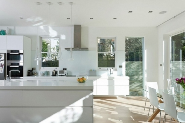 modern pure white kitchen design ideas glass pendant lights