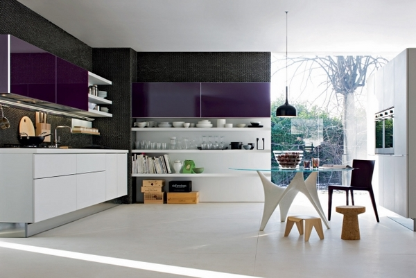 modern purple kitchen top cabinets white open shelves
