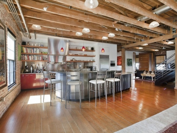 Interior design ideas modern kitchen industrial style open wooden beams