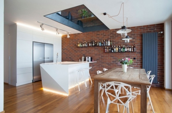 Interior design ideas kitchen modern industrial brick wall