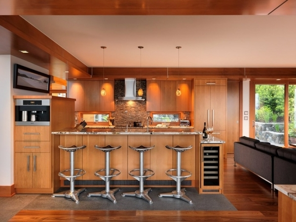 modern kitchen wooden furniture natural stone tiles