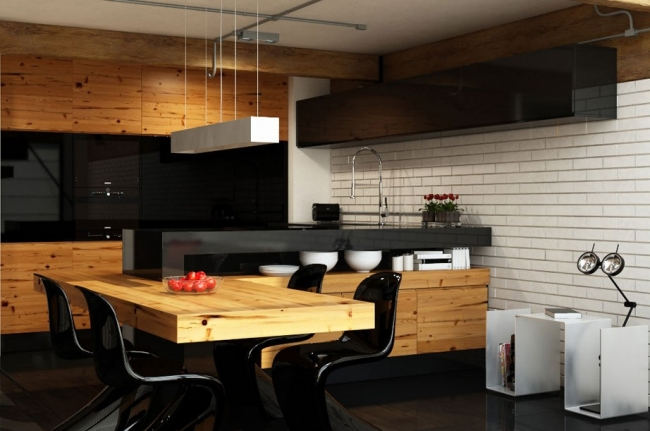 modern kitchen wooden dining table black kitchen cabinets