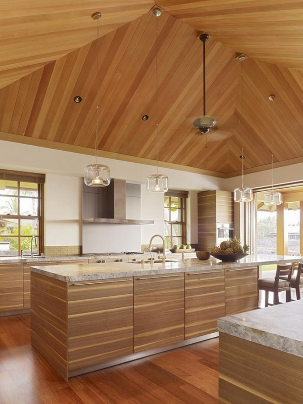 modern kitchen design ideas wooden ceiling granite worktop