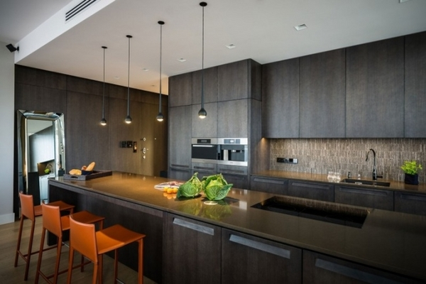 Interior design ideas modern dark wood kitchen cabinets orange barstools