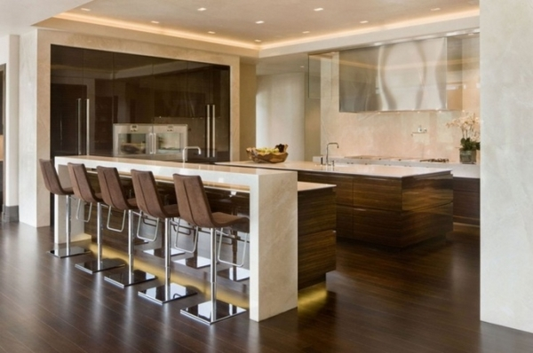 modern kitchen beige marble wooden fronts