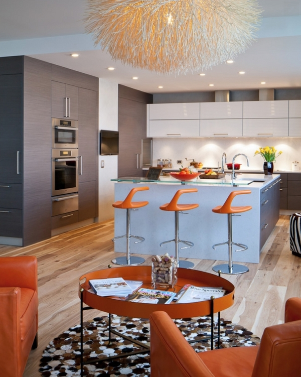 modern eclectic kitchen blue cooking island orange bar stools