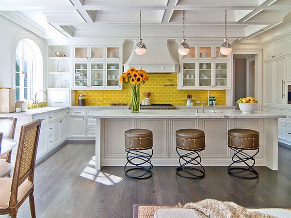 eclectic kitchen design white bar yellow backsplash