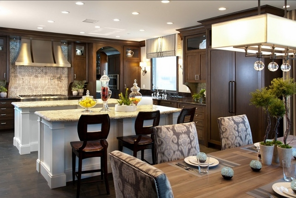 traditional-kitchen-design two kitchen marble islands