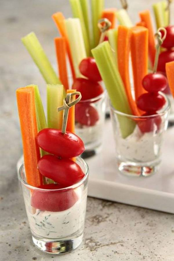 party food ideas vegetarian salad dill dip and vegetables