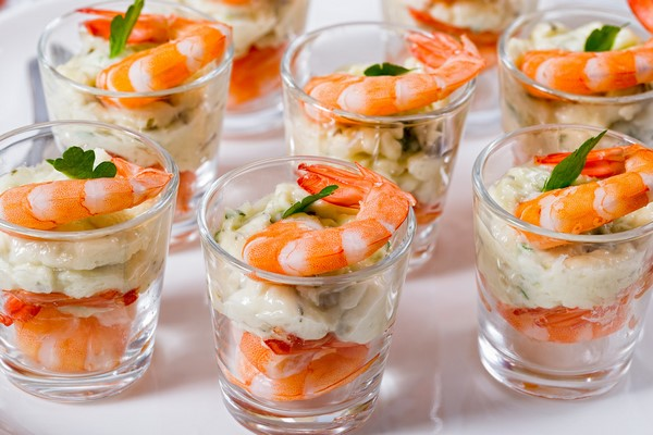 party food ideas salmon shrimps avocado and fresh cheese appetizer