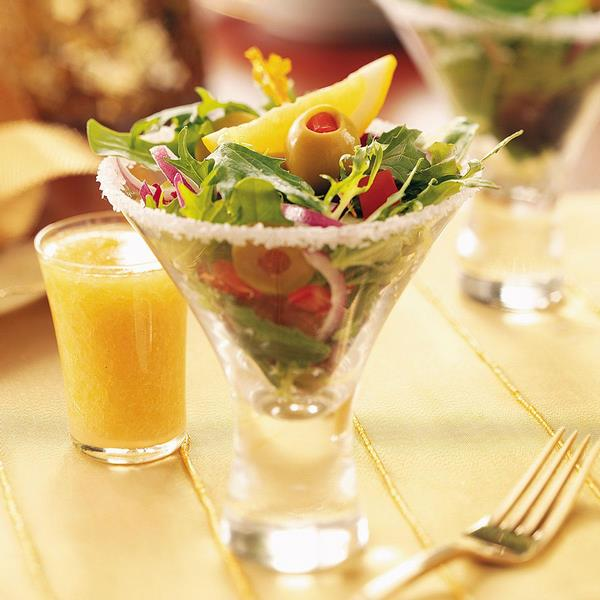 Dirty Martini salad in a glass