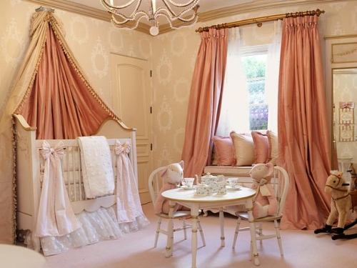 furniture ideas for luxury baby room decoration peach color