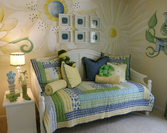 nursery mural paintings floral green yellow blue