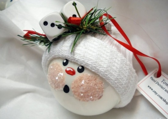 Easy Christmas crafts ideas snowman ping pong ball jingle bells