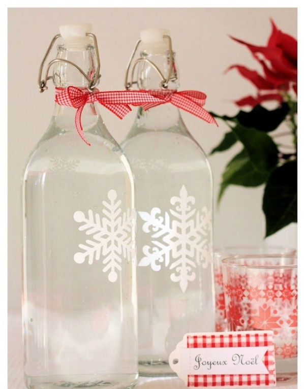 DIY quick christmas decorating ideas snowflake bottles