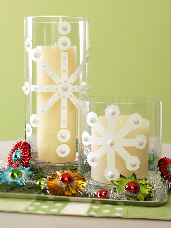 creative decoration ideas snowflake glasses candleholders