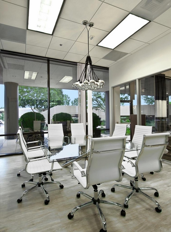 contemporary office conference room design white office chairs glass table