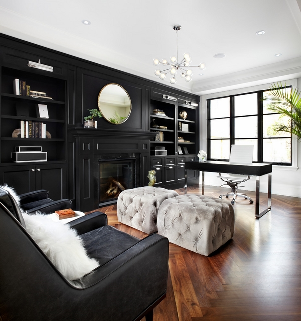 black home office furniture white chair ottomans