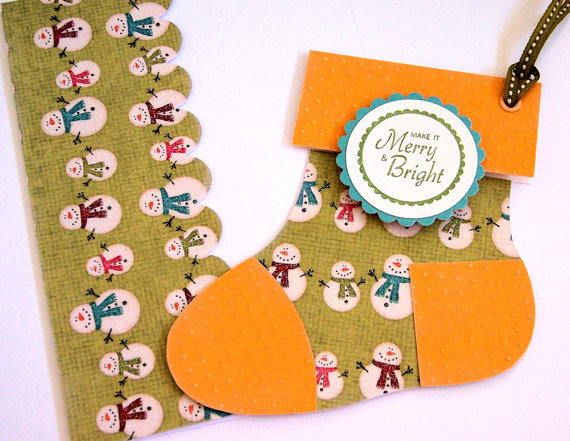 easy to craft gift card holders paper stocking snowmen motif