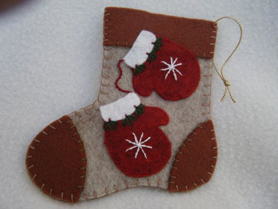 christmas felt ornaments stocking red mittens card holder
