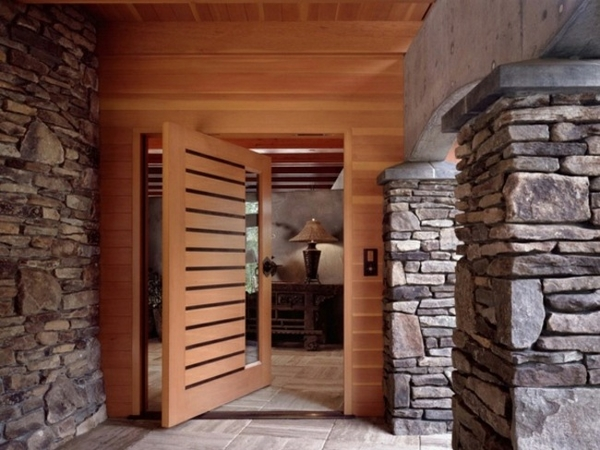 modern house front door wood glass stone slabs house entrance