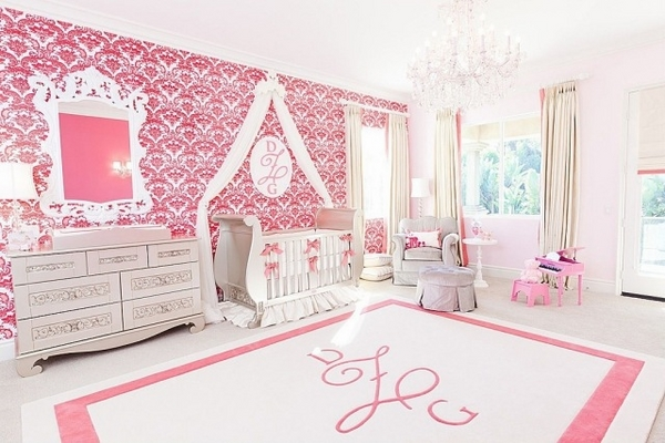 girl pink white luxury baby cot baroque wallpaper pattern