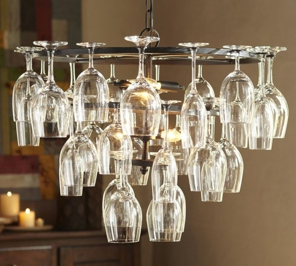 creative upcycling ideas lamp wine glasses holder