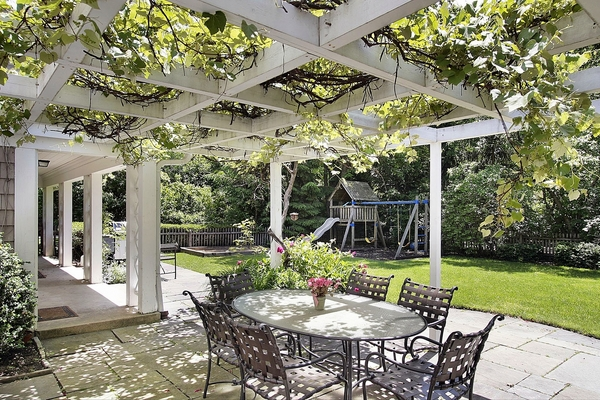 patio landscaping patio deck white wooden pergola grapevine arbot ideas