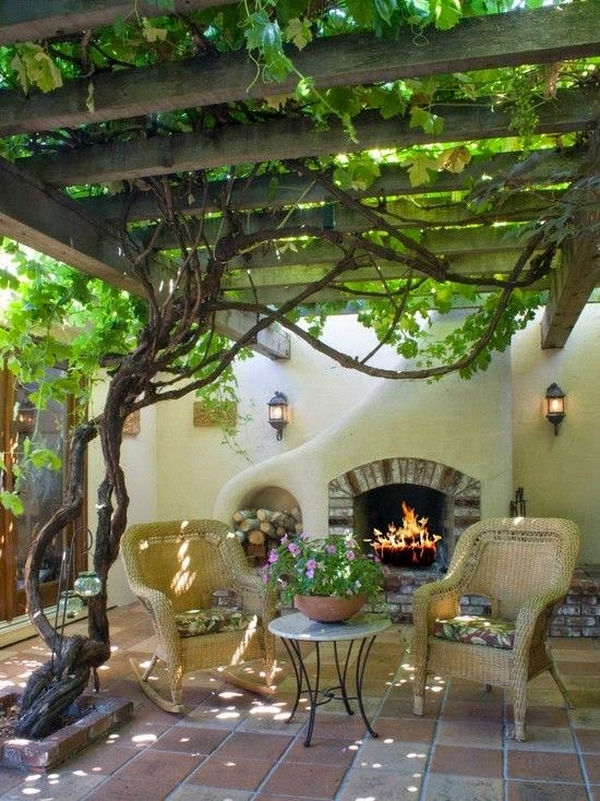 small patio ideas fireplace outdoor furniture wooden pergola