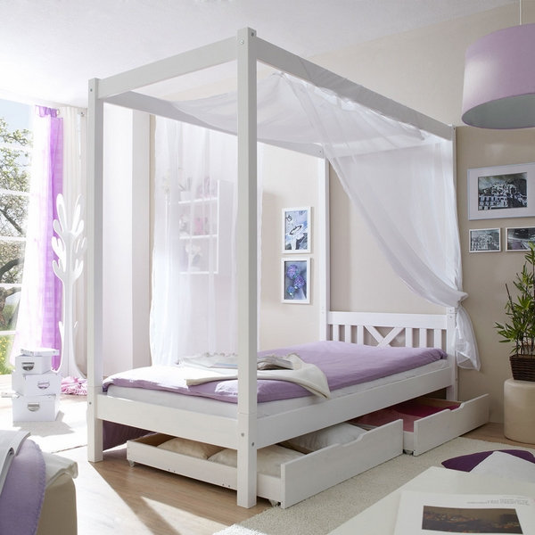 white purple bedroom interior canopy bed storage drawers