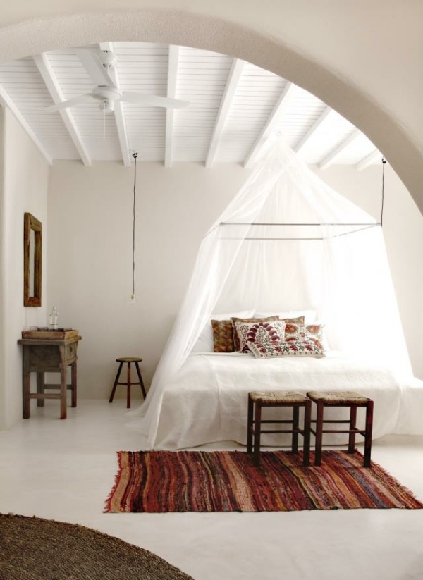 white bedroom poster bed rustic interior