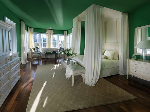 fabulous green ceiling white canopy bed