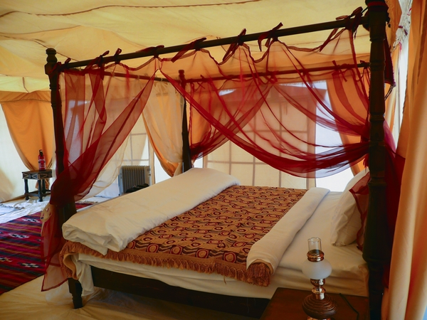 ethnic style bed wooden posts