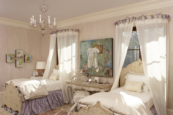 twin girls bedroom with classic style