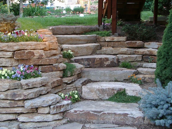 Reating wall blocks ideas natural stone garden stairs