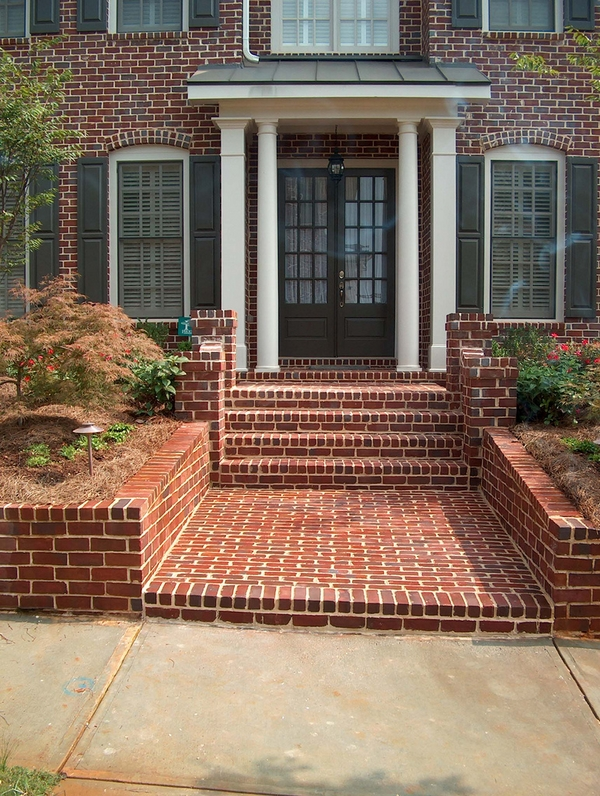 clay brick front yard landscape ideas