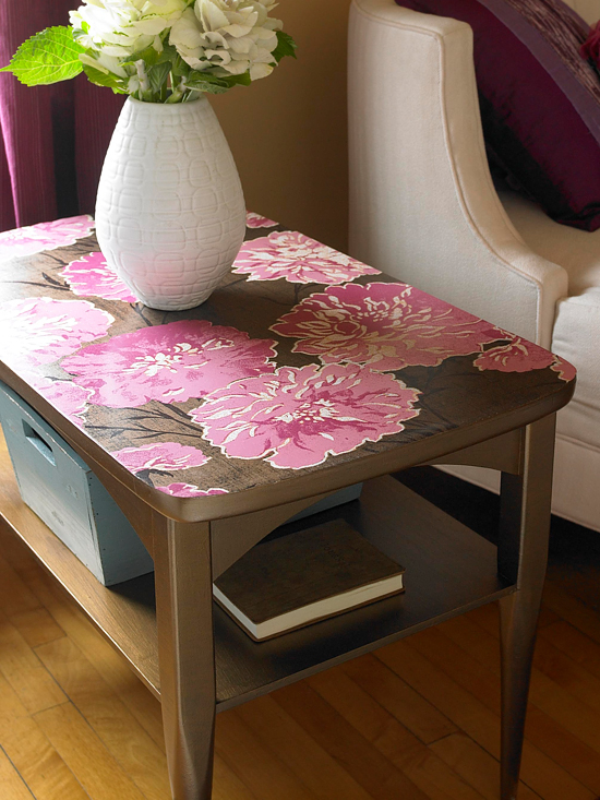 creative ideas for leftover wallpaper coffee table