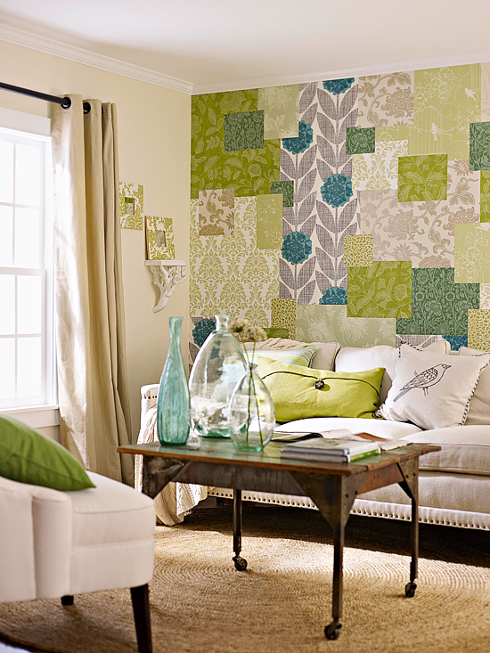 creative ideas for leftover wallpaper accent wall patchwork