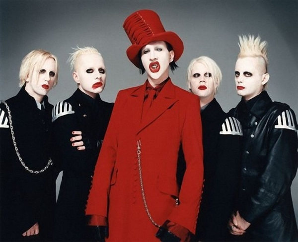 Marilyn Manson clothing Red Suit makeup ideas