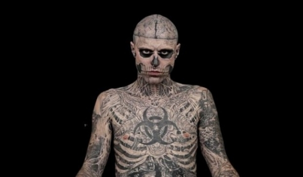 Zombie makeup for Halloween trick Genest the zombie boy tattoos
