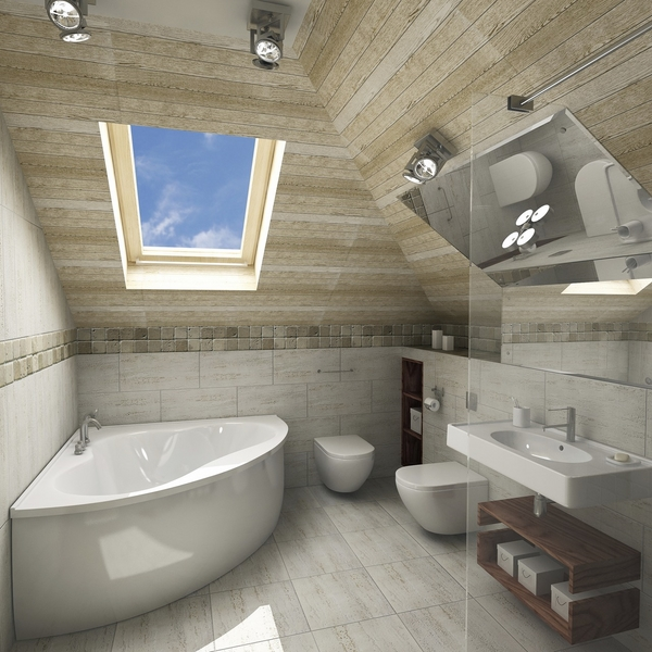 skylight corner bathtub small bathroom design